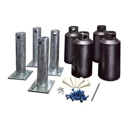 New England Arbors Concrete Surface Mount Kit for 4 inch Post Arbors - The best thing about the New England Arbors Concrete Surface Mount Kit for 4 inch Post Arbors is how easy it makes the entire process of mounting your arbor on a concrete patio. Once you have assembled your vinyl arbor move it to the exact location on your patio and mark the leg locations. Then drill the pilot holes with an electric drill and masonry bit. Secure the mounting brackets according to the instructions and raise the arbor over the mounts. The teeth of the mounting bracket will grip the inside legs of the arbor for a secure and permanent fit. This Concrete Surface Mount Kit can be used with the following arbors. Aussie Augers 4-inch kit Nantucket II Arbor - NEA002 Fairfield II Arbor - NEA003 Fairfield Grande Arbor - NEA020 Newport 7.75-ft. Arbor - NEA021 Fairfield Deluxe 7.75-ft. Arbor - NEA041