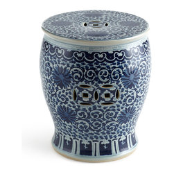 Horchow - Vintage Garden Stool - Traditional pottery in a classic blue and white design is ideal for underneath a console table in a formal entrance foyer.