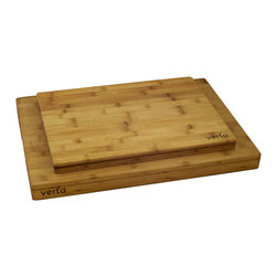 "Verta - Premium Bamboo Side-Grain Chopping Blocks, Buy One Get One Free - Limited time offer - BUY ONE, GET ONE FREE! Practice safe food prep with two premium side-grain butcher blocks made of 100% FSC-certified, eco-friendly and sustainable Moso bamboo; Side-grain chopping blocks are more durable and long lasting; Super easy to clean, just use some warm soapy water and wipe clean; includes one(1) large board measuring 20"" W x 14"" L x 1.5"" H and one(1) medium board measuring 16"" W x 12"" L x 1"" H"
