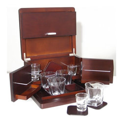 Proman Products - Portable Walnut Mini Bar - Includes four cocktail glasses. Four shot glasses. Four wood finish coasters and storage box. Easy to carry and store. Swing out door shelves. Holds up to eight 50 ml. bottles. Modern chrome handle. Storage space at bottom for napkins and stirrers. Walnut finish. No assembly required. 11.5 in. W x 10 in. D x 6.5 in. HLove to entertain? This wood finish table mini bar is the ultimate gift for yourself or friends. Compact size is ideal for office, apartment or vacation home. Fits on tabletop and stores all accessories for easy convenience. Ideal for small parties and indoor or outdoor relax.