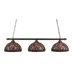 "Toltec - Toltec 803-BC-991 Black Copper Finish 3-Light Square Bar - Toltec 803-BC-991 Black Copper Finish 3-Light Square Bar with 15"" Persian Nite Tiffany Glass"