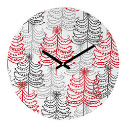 """DENY Designs - DENY Designs Rachael Taylor Doodle Trees Round Clock - Talk about a small home decor accessory that makes a HUGE impact! Our affordable 12"""" Round Clock comes complete with the artwork of your choice and coordinating clock hands. Hang it on it's own or group it in a collection. Time's a tickin'!"""