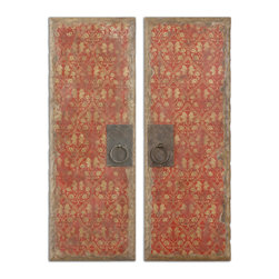 Uttermost - Red Door Panels Set of 2 - Adorn your home with these decorative door panels. With their red and gold pattern and metal handles aged to perfect imperfection, they make a wonderful old-world statement in your decor.
