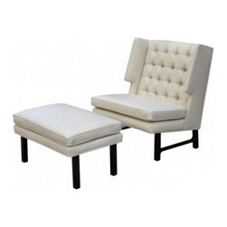 EcoFirstArt - Dunbar Lounge Chair and Ottoman - Looking to add a little midcentury modern aesthetic to your living room or den? This dynamic duo might just be what you are looking for. The chair features a tufted back with unique wings and a wide, low seat. Both the chair and the matching ottoman have dark stained walnut frames.
