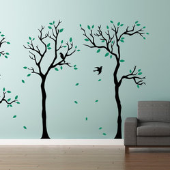 Cherry Walls - Little Forest Trees Wall Decals - Adding a fresh touch to your home decor just became a walk in the park. These three tree decals — standing alone or paired with your favorite framed pieces — will send a calm breeze through the bedroom, living room or office. Let the verdant leaves and sweet songbirds transform your room into a lovely, sunny woodland.