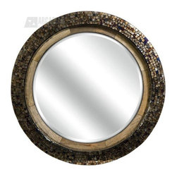 iMax - iMax 61327 Arona Mosaic Round Mirror - The Arona round mosaic mirror includes a mango wood frame that has been finished in iridescent metallic glass tiles.  The beveled mirror is framed with just enough sparkle to add glamour to any space.