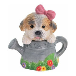 WL - 4.75 Inch Puppy in Watering Can Figurines Salt and Pepper Shakers - This gorgeous 4.75 Inch Puppy in Watering Can Figurines Salt and Pepper Shakers has the finest details and highest quality you will find anywhere! 4.75 Inch Puppy in Watering Can Figurines Salt and Pepper Shakers is truly remarkable.
