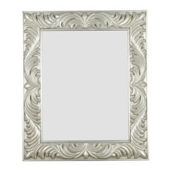 Kenroy Home - Kenroy Home Antoinette Wall Mirror, Gilded Antique Silver - 60030 - Flirty flourishes dance around a wide Gilded Antique Silver framed masterpiece reflecting Old World glamour and style.