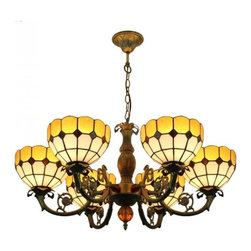 ParrotUncle - Yellow White Stained Glass Iron Base 6 Lights Tiffany Chandelier - Yellow White Stained Glass Iron Base 6 Lights Tiffany Chandelier