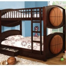 Furniture of America Basketball Twin over Twin Bunk Bed with Storage Drawers - The Furniture of America Basketball Twin over Twin Bunk Bed with Storage Drawers is sure to dribble up some extra space in your child or children's bedroom. The two bed stack atop one another and there is a handy set of storage drawers included as well. The fun basketballs adorning the beds add a dash of personality to this set.About Furniture of America Based in California, Furniture of America has established itself as a premier provider of fine home furnishings. The people behind Furniture of America brand are moved by passion, hard work, and persistence. They are always striving to design the latest piece, keeping in mind their mission to make quality furniture available to urban-minded shoppers, without compromising the packaging integrity.Furniture of America offers unique, coordinated, and affordably designed furniture; they are a one-step resource for high-quality furniture with secure and professional packaging in the furniture industry.