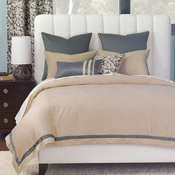 "Frontgate - Dempsey Comforter - Super Queen, Hand Tacked - From Eastern Accents. Button-tufted and hand-tacked comforters have two layers of decorative fabric with polyester batting secured inside to prevent shifting. Twin - 63"" x 88"" Queen - 88"" x 90"" Super Queen - 96"" x 98"" King - 102"" x 90"" Super King - 114"" x 98"" California King - 104"" x 100"".. Dry clean only recommended. Because this bedding is specially made to order, please allow 4-6 weeks for delivery.. The Dempsey Bedding Collection is a study of understated complexity. Tailored but relaxed, this collection mixes stripes, organic leafy silhouettes, and a honeycombed textured weave that blend perfectly together in soft shades of smoke, fog, taupe, and slate.  .  .  .  . . Made in Italy. Part of the Dempsey Bedding Collection."