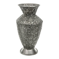 Oriental Furniture - Wrought Iron Fluted Flower Vase - The intricate silver-colored design of this iron vase is truly stunning and worthy of display in any household, indoor or out. This vase could be used by itself as a decoration in your home or outdoors amongst flowers and trees.