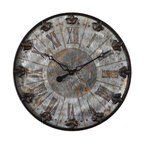 Uttermost - Uttermost Artemis Antique Wall Clock 06643 - Brushed aluminum face with rust distressing and oil rubbed bronze details with gold highlights. Quartz movement.