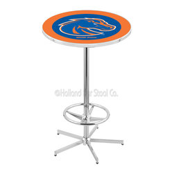 Holland Bar Stool - Holland Bar Stool L216 - 42 Inch Chrome Boise State Pub Table - L216 - 42 Inch Chrome Boise State Pub Table  belongs to College Collection by Holland Bar Stool Made for the ultimate sports fan, impress your buddies with this knockout from Holland Bar Stool. This L216 Boise State table with retro inspried base provides a quality piece to for your Man Cave. You can't find a higher quality logo table on the market. The plating grade steel used to build the frame ensures it will withstand the abuse of the rowdiest of friends for years to come. The structure is triple chrome plated to ensure a rich, sleek, long lasting finish. If you're finishing your bar or game room, do it right with a table from Holland Bar Stool.  Pub Table (1)