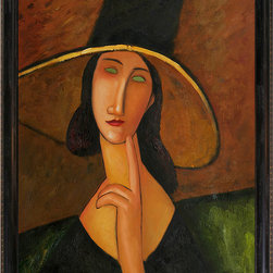"""overstockArt.com - Modigliani - Portrait of Woman in Hat(Jeanne Hebuterne in Large Hat), 1917 - 20"""" X 24"""" Oil Painting On Canvas Hand painted oil reproduction of a famous Modigliani painting, Portrait of Woman in Hat(Jeanne Hebuterne in Large Hat). The original masterpiece was created in 1917. Today it has been carefully recreated detail-by-detail, color-by-color to near perfection. Why settle for a print when you can add sophistication to your rooms with a beautiful fine gallery reproduction oil painting? One of the major artists of his generation, Amedeo Modigliani is most popularly known for portraits and figure studies. The bohemian painter's works form a bridge between the generation of Toulouse-Lautrec and the Art Deco painters of the 1920s. The classically simple, flat forms, elongated proportions and delicate stylization combine influences from African sculpture to Botticelli style. Why not grace your home with this reproduced masterpiece? It is sure to bring many admirers!"""
