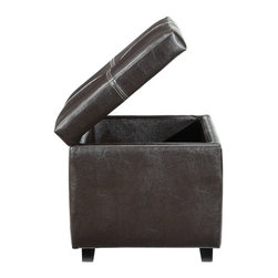 Modern espresso leather ottoman with storage Isla - Modern espresso leather ottoman with storage Isla features a rich espresso faux leather finish with stretched surface. It will allow you to prop your feet up, or stow away your possessions.