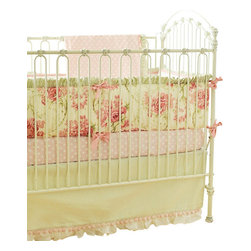 "Roses For Bella Crib Bedding Set 2 Piece Set - The two piece baby bedding crib set includes a crib sheet and a 17"" tailored skirt. Three piece set includes bumper, sheet and skirt. Bumper is slip covered for easy cleaning. Make it a four piece set by including a coordination blanket."