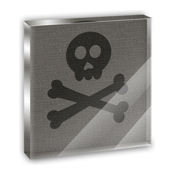 """Made on Terra - Til Skull and Crossbones Do Us Part Mini Desk Plaque and Paperweight - You glance over at your miniature acrylic plaque and your spirits are instantly lifted. It's just too cute! From it's petite size to the unique design, it's the perfect punctuation for your shelf or desk, depending on where you want to place it at that moment. At this moment, it's standing up on its own, but you know it also looks great flat on a desk as a paper weight. Choose from Made on Terra's many wonderful acrylic decorations. Measures approximately 4"""" width x 4"""" in length x 1/2"""" in depth. Made of acrylic. Artwork is printed on the back for a cool effect. Self-standing."""
