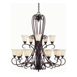 Savoy House - Savoy House GZ-1-2895-15 Wrought Iron 15 Light Up Lighting Chandelier B - *Fifteen light chandelierFeatures Cream Scavo GlassRequires fifteen 100w medium base bulbs