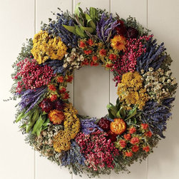 Farmers' Market Herb Wreath - Dried flowers and herbs are done well in this wreath. All natural and pesticide free, this one could go indoors or outdoors.
