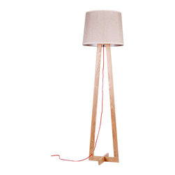 ParrotUncle - Modern Tall Floor Lamps with Fabric Shade - Whether your eye is first drawn to the interesting design of the base, this modern wood floor lamp is an attention getter. Let it shine next to your couch or bed so you can enjoy it on a daily basis.