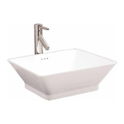 Renovators Supply - Vessel Sinks Rectangular White China Aria Vessel Sink | 17768 - Sink Square, Vessel Sinks Above Counter: Made of Grade A vitreous China these sinks endure daily wear and tear. Our protective RENO-GLOSS finish resists common household stains and makes it an EASY CLEAN wipe-off surface. Ergonomic and elegant easy reach design reduces daily strain placed on your body. SPACE-SAVING design maximizes limited bathroom space. Easy, above counter installation let's you select from many faucet styles and countertop designs, sold separately. Measures 18 1/2 inch W.