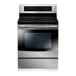 """Samsung - NE595N0PBSR 30"""" Freestanding Electric Range With 4 Induction Elements  5.9 Cu. F - Featuring 4 induction elements and a 59 cu ft capacity this Samsung electric convection range helps you prepare a variety of family-size meals Steam Quick mode efficiently cleans the oven"""
