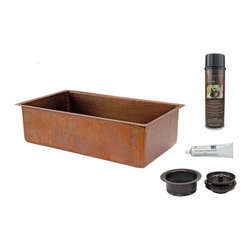 "Premier Copper Products - 33"" Antique Hammered Copper Kitchen Single Basin Sink/Matching Drain&Accessories - PACKAGE INCLUDES:"