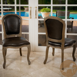 Christopher Knight Home - Christopher Knight Home Maryland Leather Weathered Wood Dining Chairs (Set of 2) - Bring an air of sophistication into your home with this set of two wood dining chairs from Christopher Knight's Home Collection. The weathered finish is the perfect frame for the rich, marbled-brown bonded leather upholstery on the back and seat.