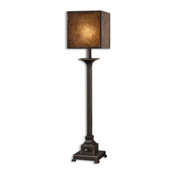 Carolyn Kinder - Carolyn Kinder Meora Transitional Buffet Lamp X-1-38892 - Lightly distressed rustic bronze metal with gold highlights. The square box shade is heavily stained crushed glass with rustic bronze metal trim.