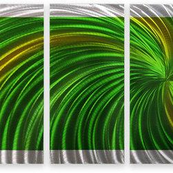 Matthew's Art Gallery - Metal Wall Art Abstract Modern Sculpture Green Swirl - Name: Green Swirl