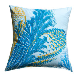 "KOKO - Water Pillow, Blue/Mustard, 20"" x 20"" - Can you see the kelp moving in the ocean currents? The beautiful embroidery work really brings this scene to life. It's a calming effect that would be welcomed in any room."