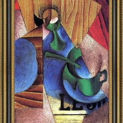 """Art MegaMart - Juan Gris Glass- Cup and Newspaper - 16"""" x 24"""" Framed Premium Canvas Print - 16"""" x 24"""" Juan Gris Glass- Cup and Newspaper framed premium canvas print reproduced to meet museum quality standards. Our Museum quality canvas prints are produced using high-precision print technology for a more accurate reproduction printed on high quality canvas with fade-resistant, archival inks. Our progressive business model allows us to offer works of art to you at the best wholesale pricing, significantly less than art gallery prices, affordable to all. This artwork is hand stretched onto wooden stretcher bars, then mounted into our 3 3/4"""" wide gold finish frame with black panel by one of our expert framers. Our framed canvas print comes with hardware, ready to hang on your wall.  We present a comprehensive collection of exceptional canvas art reproductions by  Juan Gris ."""