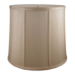 American Heritage Shades - Round Drum Lampshade in Taupe (8 in. Diam x 7 in. H) - Choose Size: 8 in. Diam x 7 in. HLampshade Types. Shantung faux silk with off-white fabric liner. Hand made. Matching top, bottom and vertical trim. Enhances lamp and room decor. Made from polyester and fabric. Fitter in brass color. Made in USA. No assembly required