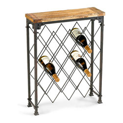 Hudson Wine Rack - Keep your vintages in sensible yet romantic style with the Hudson Wine Rack, an upscale, rustic piece for the dining room or dry bar in a high-end home.  Each side of this narrow piece is a finely-made lattice of patina iron, its spacious diamond openings holding wine bottles of all shapes, while a rough-grained plank top contributes natural warmth.