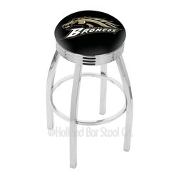 "Holland Bar Stool - Holland Bar Stool L8C3C - Chrome Western Michigan Swivel Bar Stool - L8C3C - Chrome Western Michigan Swivel Bar Stool w/ 2.5 Inch Ribbed Accent Ring belongs to College Collection by Holland Bar Stool Made for the ultimate sports fan, impress your buddies with this knockout from Holland Bar Stool. This contemporary L8C3C logo stool has a single-ring chrome base with a 2.5"" cushion and a 3"" chrome ribbed accent ring that helps the seat to ""pop-out"" at glance. Holland Bar Stool uses a detailed screen print process that applies specially formulated epoxy-vinyl ink in numerous stages to produce a sharp, crisp, clear image of your team's emblem. You can't find a higher quality logo stool on the market. The plating grade steel used to build the frame is commercial quality, so it will withstand the abuse of the rowdiest of friends for years to come. The structure is triple chomed to ensure a rich, sleek, long lasting finish. Construction of this framework is built tough, utilizing solid mig welds. If you're going to finish your bar or game room, do it right- with a Holland Bar Stool. Barstool (1)"