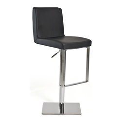 Inmod - Ryland Adjustable Stool, Black - The Ryland Adjustable Bar Stool will have your friends making excuses to gather at your place rather than theirs, because you've got the best seats in town! Don't let the name fool you: it is quite a versatile piece, able to adjust from bar height to counter height, and anywhere in between.