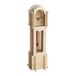 Wolf Designs - Jigsaw Mini Grandfather-Natural - Our Jigsaw Mini Grandfather easy to assemble (no tools required), this natural grandfather clock creates a 3-dimensional appearance using four flat wooden cross-sections stacked back-to-front for a life-size pop-up book style construction.