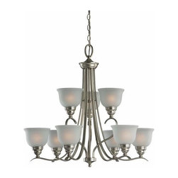 Sea Gull Lighting - 9-Light Chandelier Brushed Nickel (includes bulbs) - 31627BLE-962 Sea Gull Lighting Wheaton 9-Light Chandelier with a Brushed Nickel Finish