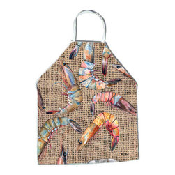 Caroline's Treasures - Shrimp Apron - Apron, Bib Style, 27 in H x 31 in W; 100 percent  Ultra Spun Poly, White, braided nylon tie straps, sewn cloth neckband. These bib style aprons are not just for cooking - they are also great for cleaning, gardening, art projects, and other activities, too!