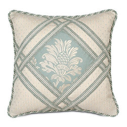 """Frontgate - Carlyle 16"""" sq. Decorative Pillow - From Eastern Accents. Dry clean only recommended. Because this bedding is specially made to order, please allow 4-6 weeks for delivery.. Our beautiful Carlyle Bedding Collection incorporates a muted color palette of blues and ivory in a formal large frame pattern.  .  . . Made in USA of imported goods. Part of the Carlyle Bedding Collection."""