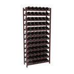 72 Bottle Stackable Wine Rack in Redwood with Walnut Stain + Satin Finish - Four kits of wine racks for sale prices less than three of our 18 bottle Stackables! This rack gives you the ability to store 6 full cases of wine in one spot. Strong wooden dowels allow you to add more units as you need them. These DIY wine racks are perfect for young collections and expert connoisseurs.