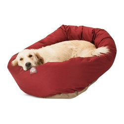 """Majestic Pet Products - 52"""" Burgundy Bagel Bed - Give your pet 360 degrees of comfort with Majestic Pet Products 52"""" Burgundy Bagel Pet Dog Bed. Designed for both comfort and style, the bolster and cushion are made of a durable 7oz. Poly/cotton Twill and stuffed with Super Premium High Loft Polyester Fiber Fill. The base of the bed is made of a heavy duty, water proof 300/600 Denier to prevent the bed from sliding and to keep it safe from any spills or accidents. Our bagel beds are easy to clean - just place the entire bed in the washer on gentle cycle and air dry."""