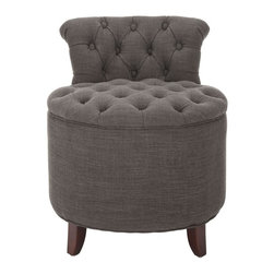 Safavieh Furniture - Brayden Tufted Grey Vanity Stool - Upholstered in gray lenin polyester material. Crafted to provide utmost comfort. Solid Birchwood legs. Seat height: 18 in.. Back: 17.5 in. W. 20 in. Diam. x 24 in. HWill look great in your home decor.