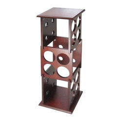 Proman Products - Fuji 12-Bottle Wine Rack in Mahogany Finish - Solid wood. Holds up to 12 bottles. 9.5 in. W x 9.5 in. D x 28 in. H (7.5 lbs.)Our Fuji Wine Rack is sleek and stylish and looks right at home in today's contemporary living rooms and dining areas. This sturdy wine rack will help you organize your wine collection.