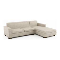 Brenem Chaise Sectional w/ Sofa Bed (Eco-Friendly) - Modern style eco-friendly sectional with a sofa bed that is made with 100% alder wood, all natural latex and eco wool, and comes in a large variety of natural or recycled fabrics. It's made in Los Angeles, and is natural from the inside out with no use of chemicals or fire retardants. The pullout mattress can be an air mattress, or a natural latex mattress. These sectionals can also be made to waterer size you need to the inch.