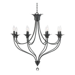 "Franklin Iron Works - Iron Banyon 30"" Wide Oil-Rubbed Bronze Chandelier - This exquisite chandelier features eight bronze finish arms that curve up and out. Each has a candelabra bulb above a petal shape bobeche that echoes the detail at the top of the frame. A length of chain and wire is included. Oil-rubbed bronze chandelier. Metal construction. Clear crystal ball drop. Eight maximum 60 watt bulbs (not included). 30"" wide. 32"" high. Includes chain.  Oil-rubbed bronze chandelier.  Metal construction.  Clear crystal ball drop.  A large chandelier ideal for oversized rooms.  Eight maximum 60 watt bulbs (not included).  30"" wide.  32"" high.  Includes chain."