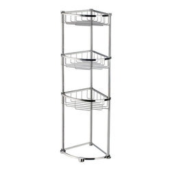 Sideline Collection Freestanding Corner Shower Basket - Polished Chrome - This freestanding corner shower basket will create a convenient place to store your shower essentials. Great for walk-in showers or as a bathroom shelf outside the shower.