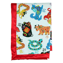 Chinese Welcome Silky Baby Blanket - Use this baby blanket featuring all 12 Chinese zodiac animals on your little one, or throw it over the nursing chair to add a splash of Asian decor. It's light, but you can add cotton filling for quilt-like weight.