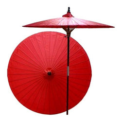 Oriental Unlimted - 7 ft. Tall Cherry Patio Umbrella (None) - Choose Base: NoneHandcrafted and hand-painted by master artisans. 100% Waterproof and extremely durable. Umbrella shade can be set at 2 different heights, 1 for maximum shade coverage and the other for a better view of the shade. An optional base, which secures the umbrella rod and shade against strong winds and rain. Patio umbrella rod and base is constructed of stained oak hardwood for a rich look and durable design. Umbrella shade is made of oil-treated cotton. Minimal assembly required. Canopy: 76 in. D x 84 in. HRed is symbolic of happiness, marriage and prosperity in Asian culture. Add this rich, colorful patio umbrella to any outdoor area to create a lively and stimulating mood.